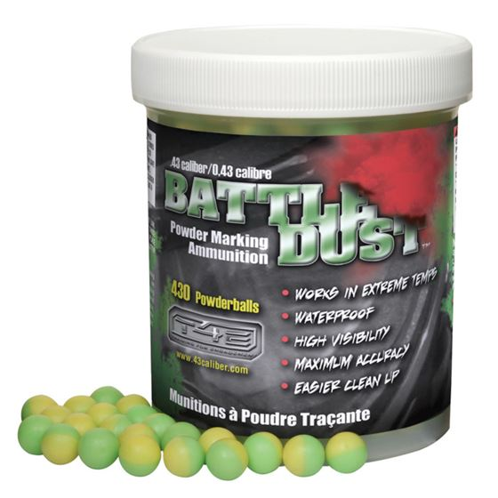 Picture of T4E BATTLE DUST .43 CALIBER GREEN / YELLOW 430 CT FOR PAINTBALL TRAINING GUNS