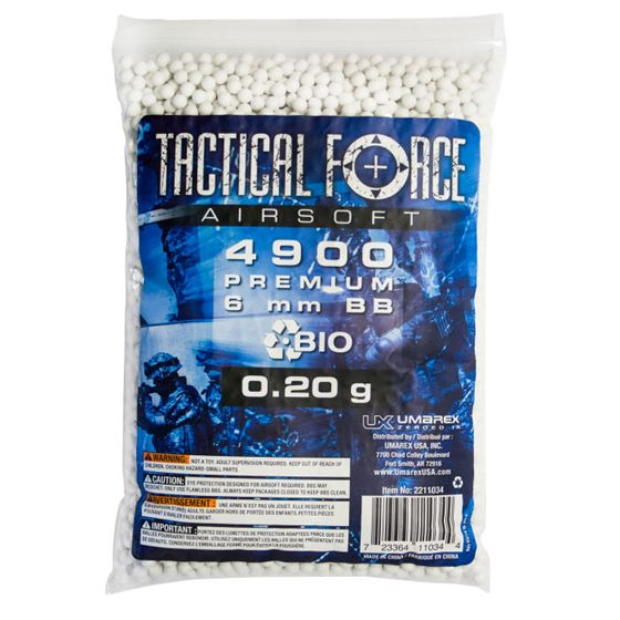 Picture of TACTICAL FORCE AIRSOFT .20 BIO 6MM BB QTY 4900 QTY BAG WHITE